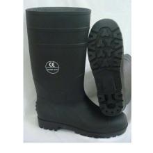 Черный Промышленный ПВХ-дождь Рабочие защитные сапоги со сталью