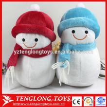 2015 Navidad rellena muñeco de nieve con sombrero rojo y bufanda