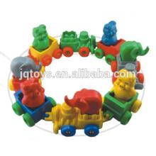 JQ6026 animales de plástico del tren tren bloquea el juguete del acoplamiento para la venta