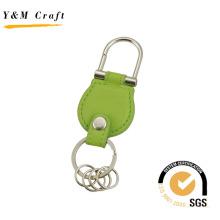 Двойное кольцо заклепки брелок с зеленым кожа Цвет (Y02551)