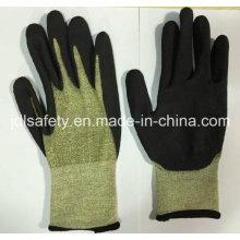 18 калибровочных арамидные волокна безопасности перчатка с стекловолокно (K3053)