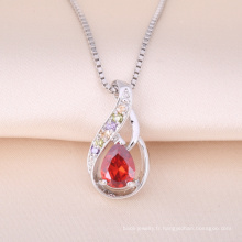 Vente chaude 925 Sterling Silver pendentif Ruby Stone collier minuscule conception