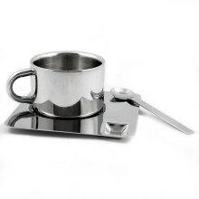 Edelstahl-Espresso-Tasse und Untertasse Mug Set
