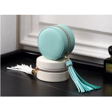 Caja de almacenamiento de pendiente de empaquetado de joyería redonda azul personalizada