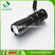 Longue durée de vie 12000-15000MCD 9 lampe torche à led led en aluminium