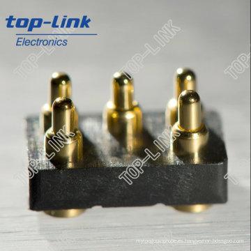 Conector de clavija de cobre amarillo del latón de la fila doble de 5 Pin con el resorte