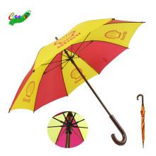Markenlogo druckt Werbeschirme, 46 Zoll mehrfarbiger gerader Regenschirm aus Holz