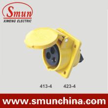 Zócalo para panel de ángulo 16 / 32A 110V IP67 3pin Yellow