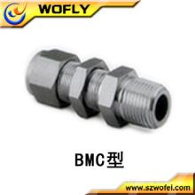 Conexão de tubo de aço inoxidável 316ss3 / 8t Bulkhead Male Connector