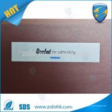 China 2016 novo produto transferência completa tamper evidente segurança VOID adesivo papel segurança VOID etiqueta para promoção da marca