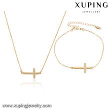 64000-Xuping conjuntos de la joyería de la boda Cruz colgantes collar conjunto de pulsera para mujeres niñas regalo