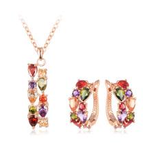 Multicolor Waterdrop Zircon Necklace Earrings Sets pour femme (CST0031-A)