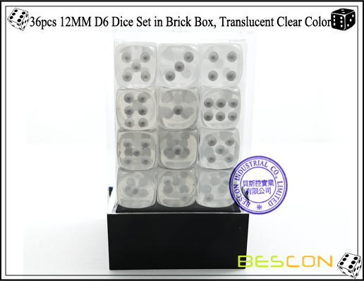36pcs 12MM D6 Dice Set in Brick Box, Translucent Clear Color-2