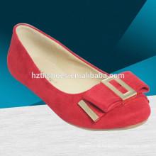 Mulher moda casual sapatos lisos com arco vermelho moda bailarina sapato