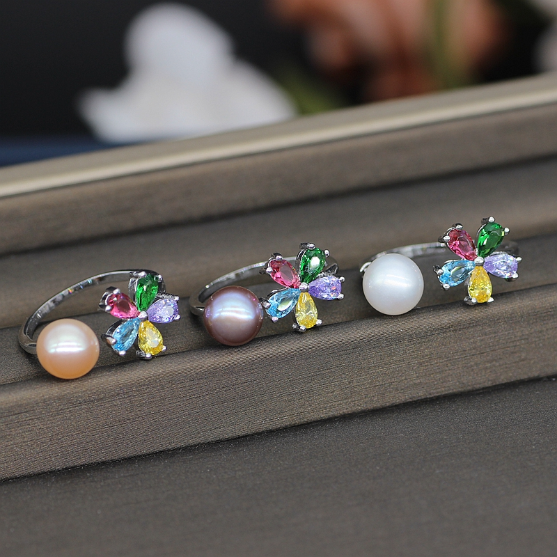 Three Color Pearls Ring