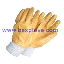 Хлопковая блокировочная прокладка, нитрильное покрытие, полностью защитные перчатки