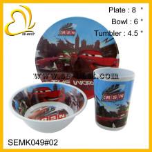 NEW OEM Design 3PC melamine kids dinner ware with printing for children