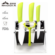 Utensílios ajustados amigáveis da cozinha da faca cerâmica de Eco com descascador & suporte da batata