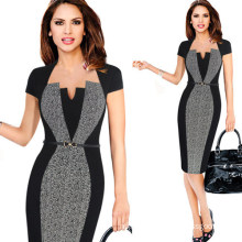 Women Illusion Optical Contrast 2017 Office Business Work Party Bodycon Dress