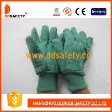 Golden Green Chore Glove Knitted Wrist Safety Gloves Dcd104