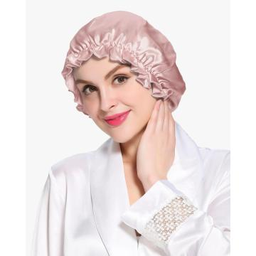 19 Momme Silk Night Sleep Cap Silk Cap for Sleeping Women Flounced Brand Solid Elegant Hair Care Accessories Elastic Band Beanie