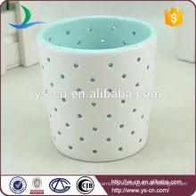 Blue Cutout cerámica Candle Holders para el cumpleaños