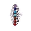 Natural 7 Chakra Gemstone Women Jewelry Ring
