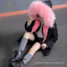 Parka de piel de mapache real de la mejor calidad con forro de piel abrigo de invierno grueso de lujo