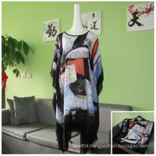 2016 new fashion ladies printed irregular loose Bat Sleeve blouse