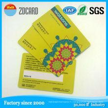 Carte transparente de PVC de vente chaude / carte d'identification futée / carte de visite de PVC
