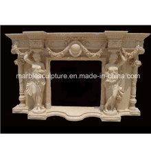 Fashion Design Lady Statue Carved Marble Fireplace (SY-MF200)