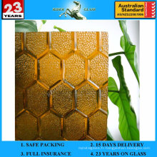 3-8mm Amber Puzzle Patterned Figure Glass avec AS / NZS2208: 1996