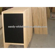 wooden A-frame chalk board