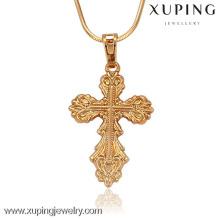 32142-Xuping Joyas disponibles oro jesus pieza colgante cruz