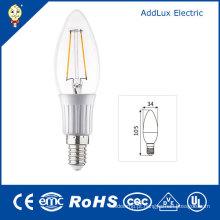 Luz do dia 3W E14 / bulbo branco puro da vela do filamento do diodo emissor de luz