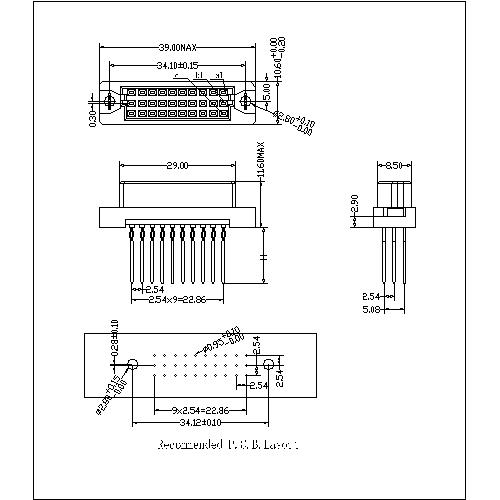 DFS-XX-XXX-319 Vertical Female Type 0.33C Compliant Press-Fit Connectors 30 Positions-Model