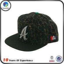 custom made design flat brim metal plate snapback cap