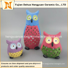 Colors Hollow-out Ceramic Owl for Home Decoration