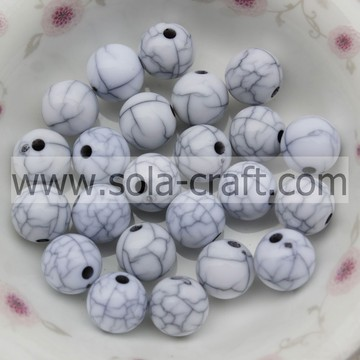 New Mixed Acrylic Crack White Round Beads Jewellery Spacer Beads