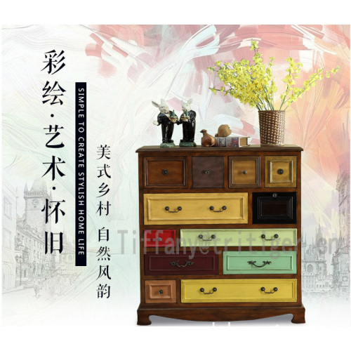 China factory American style 12 drawers colorful antique wooden cabinet