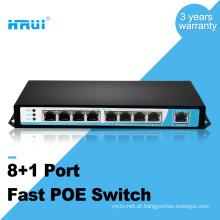 IEEE802.3af 250meters 10 / 100M 48v 8 portas 9 portas switch poe