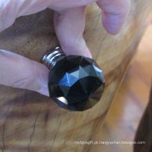 Botão de puxador cerâmico de cristal preto de 30mm da tração sem fechamento