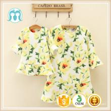 хлопок и полиэстер платье ткань дамы платье Китай цветочный дизайн желтый sweetty платья заводская цена для женщин и детей