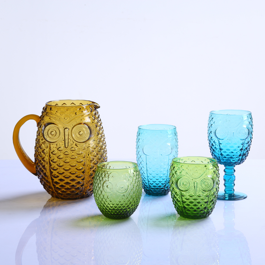 Br 9990 2blue Owl Design Colored Glass Goblet