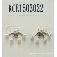 White Pearl Earrings with Metal for Elegant Beauty