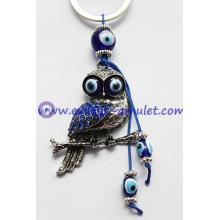 Alloy with acrylic diamond evil eye owl keychain