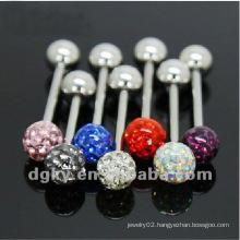 Hot sale mixed color beautiful crystal tongue ring