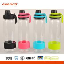 Bouteilles d'eau plastique en plastique 2015 avec bouteille en caoutchouc et bouclier en silicone