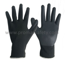 13G Gris Polyester Liner Black Foam Nitrile Palm Coated Gloves
