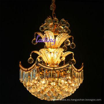 Araña de cristal decorativa de la araña de cristal pequeña del metal del oro del hotel